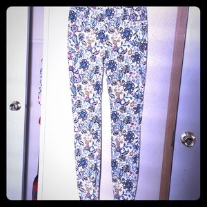 White floral print fitted jeggings